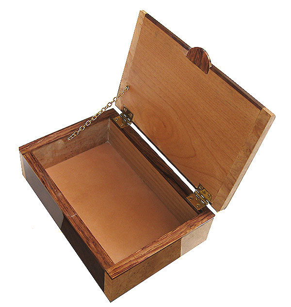 Handmade wood box open vieew