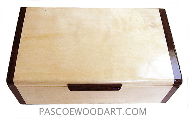Handmade wood box - Decorative wood keepsake box made of aspen with Brazilian rosewood ends