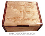 Handmade wood box - Decorative wood keepsake box made of Karelian birch with bubinga ends