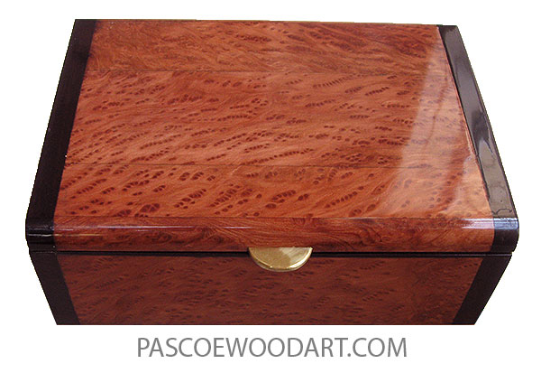 Handmade wood box - Decorative wood keepsake box made of redwood burl framed in African blackwood