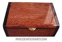 Handmade wood box - Decorative wood keepsake box made of redwood burl and African rosewood
