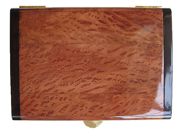 Redwood burl framed in African blackwood box top - Handmade wood keepsake box