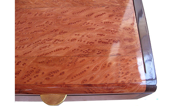 Redwood burl box top close up - Handmade wood box
