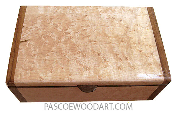 Handmade wood box - Decorative wood keepsake box made of bird's eye maple with shedua ends