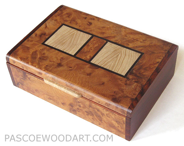 Decorative wood keepsake box or photo box - Handmade wood box made of  amboyna burl, cocobolo, ash, ebony