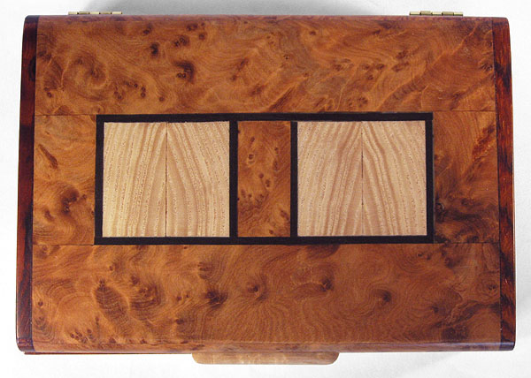 Amboyna burl box top with ash inlaid with ebony trim