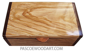 Handmade wood box- Decorative wood keepsake box made of Mediterranean olive with Santos rosewood ends