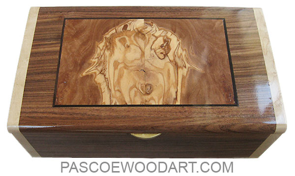Handcrafted wood box - Decorative wood keepsake box made of Santos rosewood with Mediterranean olive center inlaid top and birds eye maple ends
