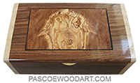 Handmade wood box - Decorative wood keepsake box made of Santos rosewood, Mediterreannean olive, birds eye maple, ebony