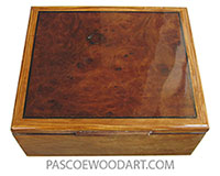 Handmade wood box - Keepsake box made of figured olive with camphor burl top