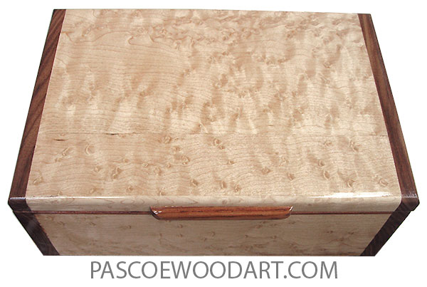 Handmade wood box - Wood keepsake box made of birds eye maple with Santos rosewood ends