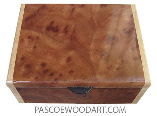 Handmade wood box - Keepsake box made of camphor burl with birds eye maple ends