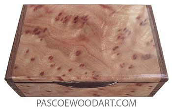 Handmade wood box - Decorative wood keepsake box made of camphor burl with Bolivian rosewood ends