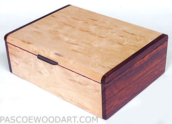 Decorative keepsake box - Handmade keepsake box made of Karelian birch burl, Cocobolo