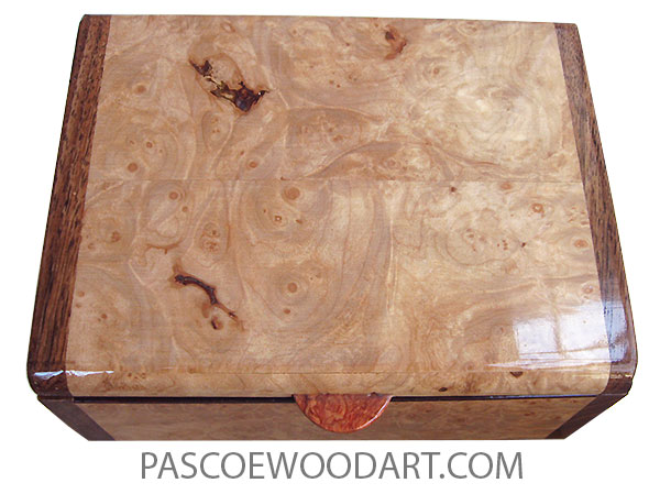 Handmade wood box - Decorative wood keepsake box made of maple burl with Hawaiian koa ends