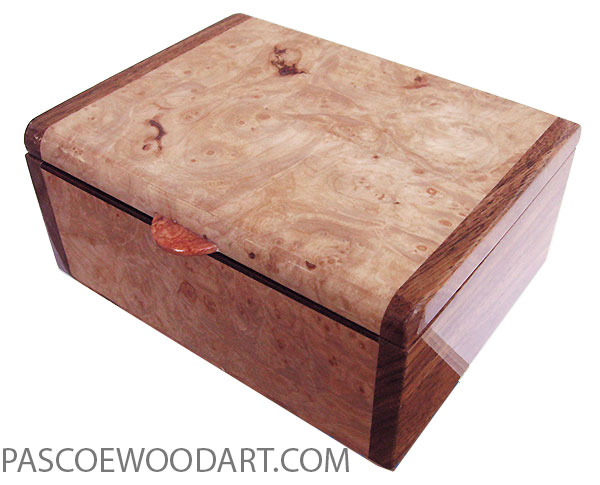 Handmade wood box - Decorative keepsake box made of maple burl with Hawaiian koa ends