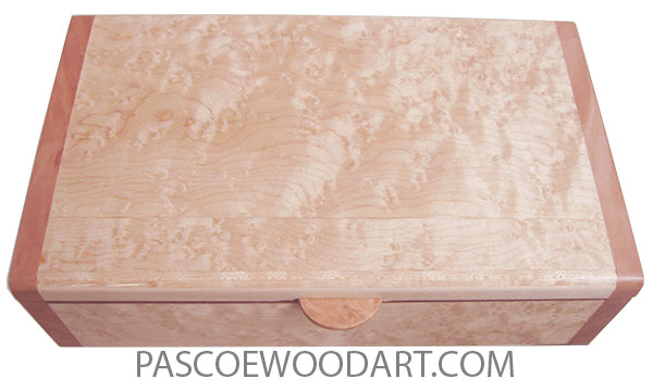 Handmade wood box - Keepsake box made of  birds eye maple with pear ends.