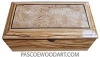 Handcrafted wood box - Wood keepsake box made of Mediterranean olive with spalted maple burl center top.
