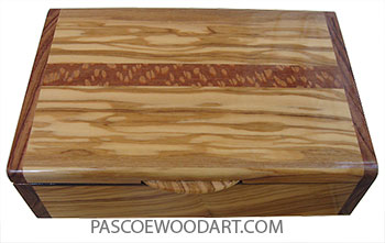 Handmade wood Box- Keepsake box made of Mediterranean olive with Honduras rosewood ends and lacewood inlay top