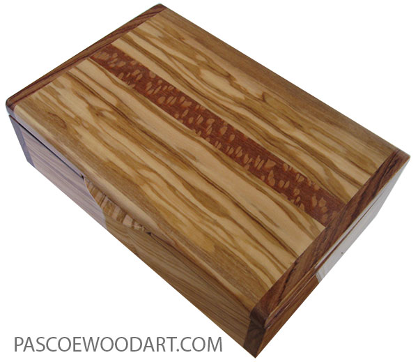 Handmade wood box - Keepsake box made of Mediterranean olive with Honduras rosewood ends and lacewood inlay top