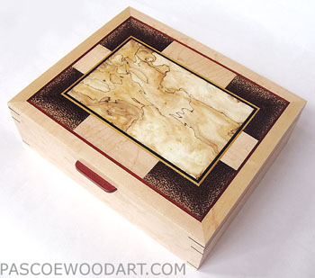 Decorative wood keepsake box - Handmade wood box - Bird's eye maple, bleached spalted maple, end grain black palm