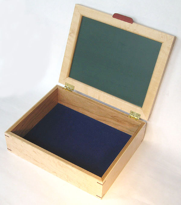 Handmade decorative wood keepsake box - open view