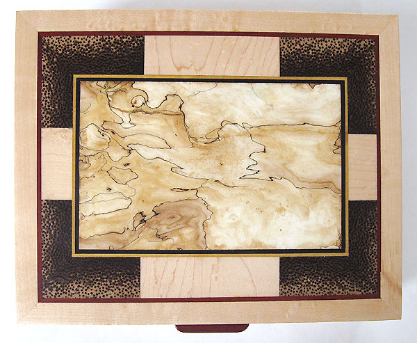 Decorative keepsake box top - End grain black palm, bleached spalted maple, bird's eye maple, ebony, bloodwood