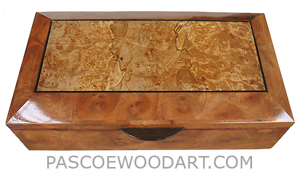 Handcrafted wood box - Decorative wood keepsake box made of camphor burl with maple burl center framed top