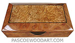 Handcrafted wood box - Decorative wood keepsake box made of camphor burl with maple burl center framed in camphor burl and ebony striping