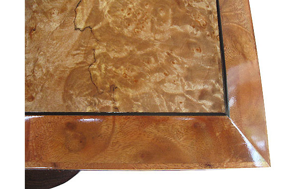 Maple burl center framed in camphor burl with ebony striping box top - close-up - Handcrafted decorative keepsake box