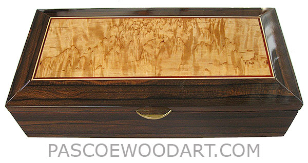 Handcrafted wood box - Decorative wood keepsake box made of ziricote with masur birch center framed top