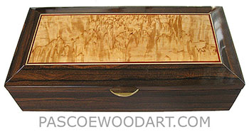 Handcrafted wood box - Decorative wood keepsake box made of ziricote with mazur birch center framed in ziricote with bloodwood, Ceylon satinwood striping
