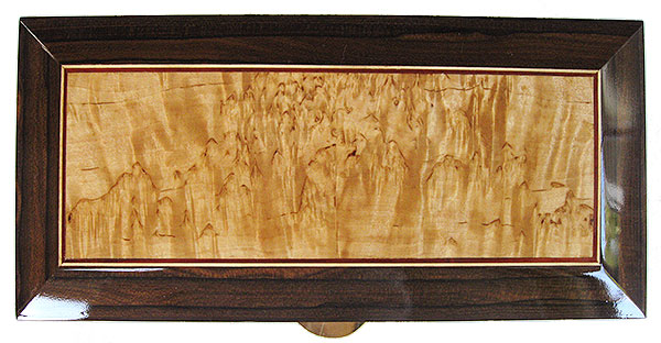 Masur birch center framed in ziricote with bloodwood, Ceylon satinwood striping box top - Handmade decorative wood keepsake box
