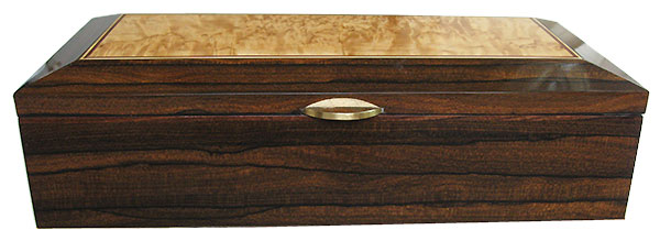 Ziricote box front - Handmade decorative wood keepsake box