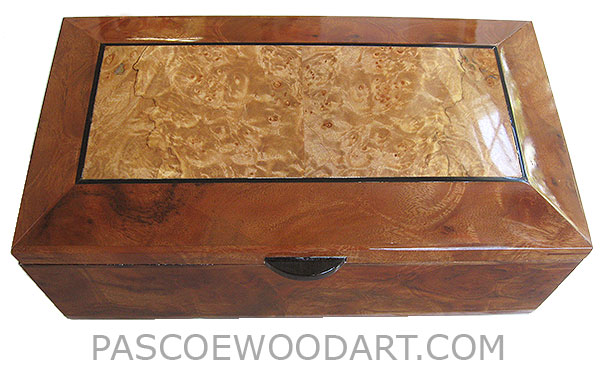 Handcrafted wood box - Decorative wood keepsake box made of camphor burl with maple burl framed top