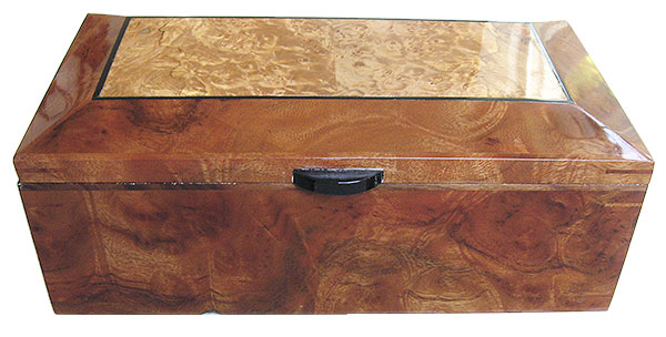 Camphor burl box front - Handcrafted decorative wood keepsake box
