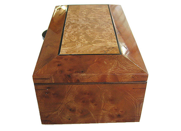 Camphor burl box end - Handcrafted decorative wood box, keepsake box