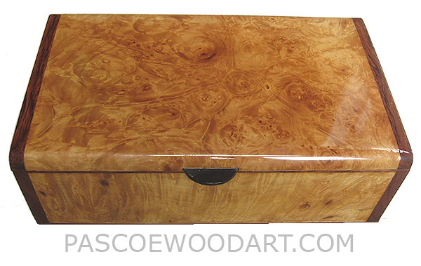 Handmade wood box - Decorative wood keepsake box made of maple burl veneer over mahogany with bubinga ends
