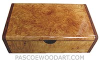 Handmade wood box - Decorative wood keepske box made of maple burl with bubinga ends
