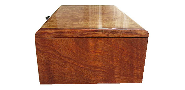 Bubinga box end - Handmade wood box - decorative keepsake box