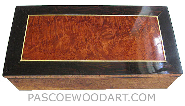 Handcrafted wood box - Decorative wood keepsake box made of maple burl with redwood burl center framed in African rosewood top