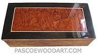 Handcrafted wood box - Decorative wood keepsake box made of maple burl with redwood burl center framed in Afriacn rosewood top