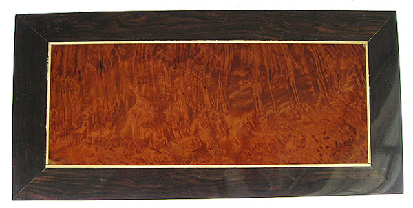Redwood burl center framed in African rosewood with satinwood stringing box top