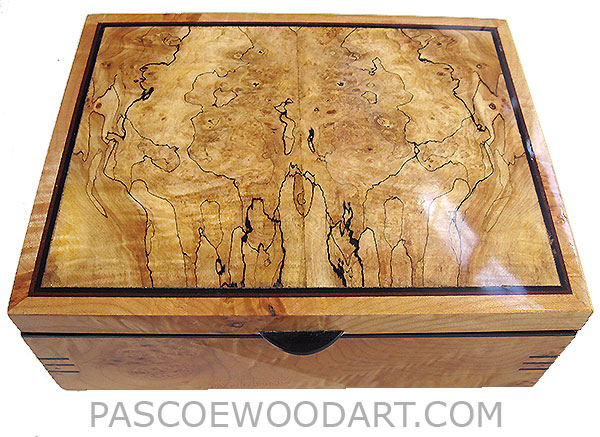 Handcrafted wood box - Decorative wood keepsake box made of solid caruly maple burl with spalted maple burl top