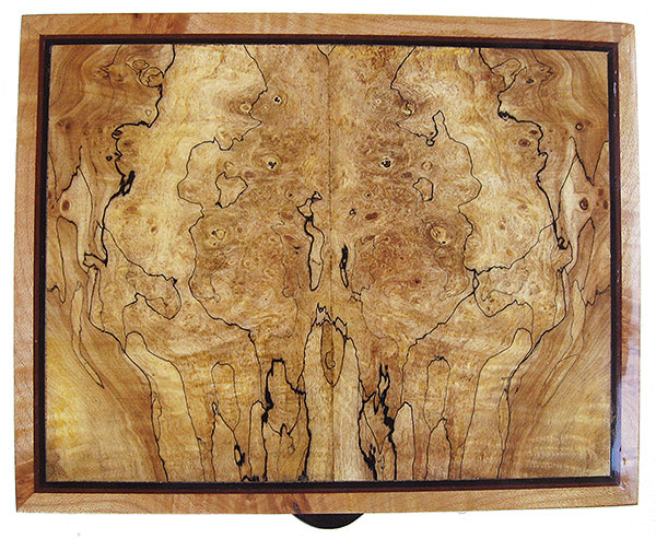 Spalted maple burl box top - Handcrafted decorative wood keepsake box