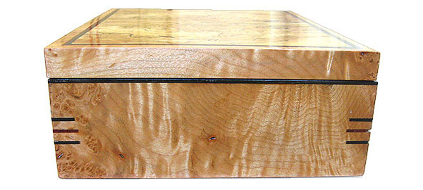 Curly maple burl box side - Handcrafted decorative wood keepsake box