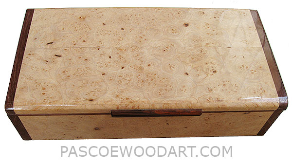Handmade wood box - Decorative wood keepsake box made of maple burl with Honduras rosewood ends