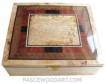 Handcrafted large wood box - Decorative wood keepsake box made of burley maple with a mosaic of ebony, padauk, shedua an masur birch top