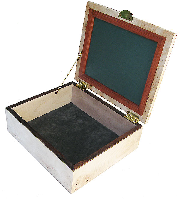 Handcrafted large wood box - open view