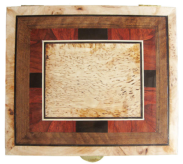 Box top with a mosaic of ebony, padauk, shedua and masur birch - Handcrafted large wood keepsake box